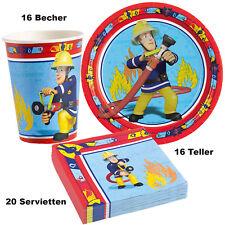 52 tg. Set Feuerwehrmann Sam Kindergeburtstag Party Tisch Deko Teller Becher