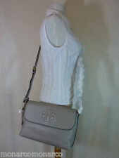 NWT Tory Burch Dust Storm Gray Pebbled Leather Thea Messenger/Cross Body $435