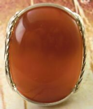 Bold Carnelian Artisan Ring Sterling Silver Mens or Ladies