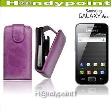 Flip Style Case Samsung Galaxy Ace S5830 Handy Klapp Tasche Lila Hülle
