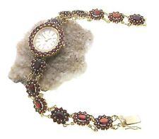 Women's Watch Garnet Genuine Silver 925 Wrist Jewellery 17,5 CM