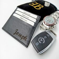 engraved black wallet id card holder mens gift leather soft christmas present