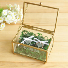 Personalized Wedding Ring Box, Glass Engraved Ring Box, Glass Ring Bearer Box