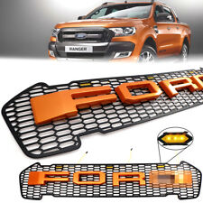Fit 2015+ Ford Ranger T6 MK2 Wildtrak Orange Color Front Grill Grille With Led