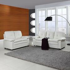 Classic Bonded Leather Sofa and Loveseat Living Room Set - White