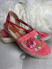 Kanna Pink Suede Leather Embroidered Espadrilles Sandals Slingback Strappy Sz 41