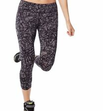 NWT Zumba Wear Perfect Capri Leggings Small Polyester Spandex Black Gray NEW