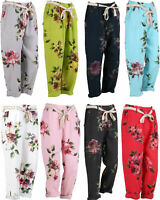 NEW LADIES ITALIAN PLUS SIZE LAGENLOOK FLORAL BOHO LINEN BAGGY TROUSERS ONE SIZE
