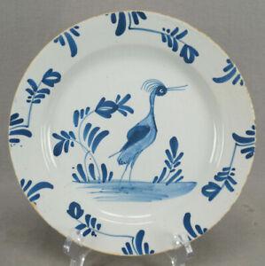 London / Bristol Delft Hand Painted Blue Heron 8 7/8 Inch Plate Circa 1730-1740