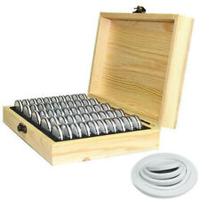 Wood Coins Display Storage Box Case for Slab Certified Coin With 50 Capsules