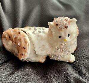 Austrian Crystal Studded Enamelled Cat TRINKET BOX