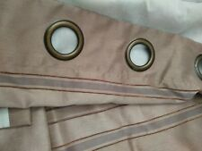 """Textured Lined Curtains Beige Stripes eyelets 46"""" x 72"""""""