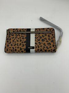 Fossil RFID Blocking Logan Zip Cheetah Wallet Brown Leather-(SL6354989) MSRP $58