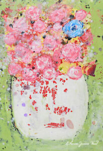 Pink Floral Roses Painting Cottage Chic Farmhouse Flower Art Katie Jeanne Wood