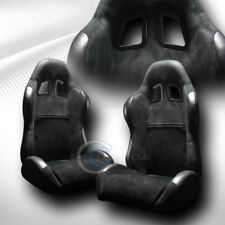 2 UNIVERSAL SP SPORT BLK SUEDE LEATHER RECLINABLE RACING BUCKET SEATS+SLIDER C12