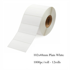 102x48mm Plain White Label Roll Thermal Transfer 1000/roll 12rolls Core 25mm