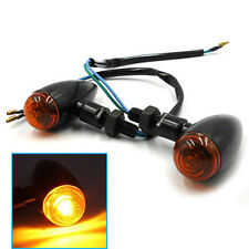 A Pair Black Motorcycle Turn Signals Mini Bullet Blinker Amber Indicator Lights