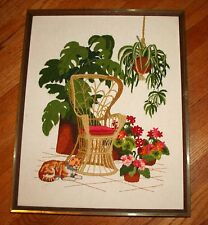 Framed Crewel Needlepoint Embroidered Wall Hanging FINISHED Tropical Cat Lanai