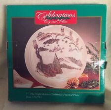 """7"""" NIGHT BEFORE CHRISTMAS PLATE BY CRYSTAL CLEAR SANTA & REINDEER OVER HOUSES"""