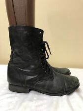 Steve Madden Troopa Lace Up Boots Black distressed Leather Women Size US 11M