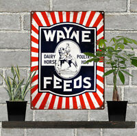 "Wayne Feed Metal Sign Ad Repro Farmer Farm Ranch Barn 9x12"" 60213"