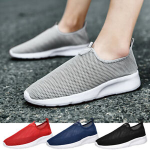 Men's Slip On Shoes Casual Outdoor Mesh Running Walking Tennis Sneakers Trainers