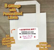 8 X HEN PARTY WHITE PAPER PARTY GIFT BAGS + PERSONALISED STICKERS 686