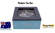 WOODEN MODERN TEA BOX CONTAINER GLASS LID WITH 4 DIVISIONS HOLDS 40 BAGS HW-203C