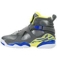 Nike Girls Air Jordan 8 Retro GS VIII 580528-038 Cool Grey Electric Yellow Laney