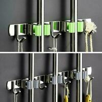 Wall Mounted Mop Organizer Brush Broom Hanger Storage Kitchen Green Holder X4F5