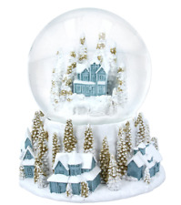 Gisela Graham Large Snowy Blue Village Snow Globe with Gold Trees Horse & Sleigh