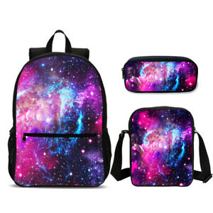 Galaxy Starry Space 3Pcs Kid's Schoolbag Canvas Backpack Cross Body Pencil Case
