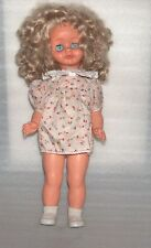 Vintage Plastic And Rubber Crying Doll In Original Dress, Germany, Gdr Or Europe