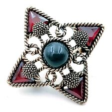 4 Point Star Crystal Brooches Pins Boho Vintage Blue Stone Centered Burgundy Red