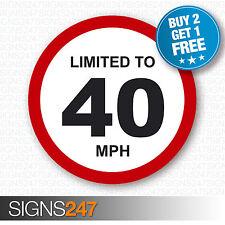 Limitado a 40 mph restricción de velocidad del vehículo Impreso Pegatina de vinilo coche furgoneta 80mm