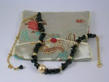 Black Onyx & Gold Shell Pearl Necklace