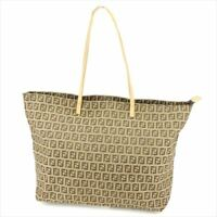 Fendi Tote bag Zucchino Beige Canvas Leather Woman unisex Authentic Used T9285