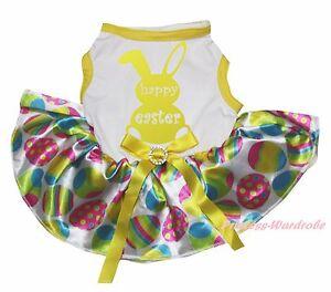 Happy Easter Bunny Rabbit White Top Rainbow Egg Skirt Pet Dog Puppy Cat Dress