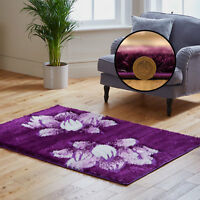 QUALITY PURPLE CREAM SOFT SPARKLE SALE DISCOUNT MODERN SMALL LARGE SHAGGY RUGS