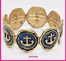 Navy Blue Stretch Nautical Anchor Sea World Round Bangle Bracelet