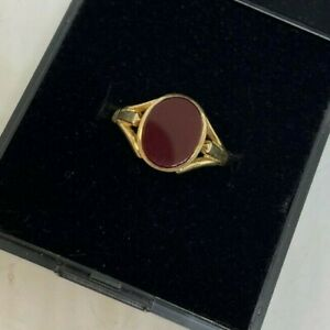 9ct Yellow Gold CARNELIAN OVAL STONE RING - Pinkie Signet Style