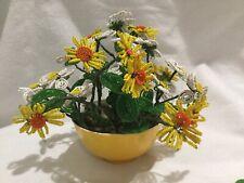 🌼Vtg Handmade Craft beaded daisy flower garden Spring floral bouquet Display