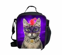 Cool Cat Insulated Lunch Bag Thermal Portable Lunchbox School Picnic Kids Girls