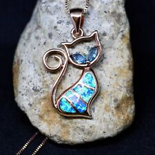 Pretty Kitty Cat Pendant Topaz and Lab Opal Rose Gold over Sterling Silver 925