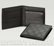 GUCCI Mens black Leather GUCCISSIMA Bi-fold COIN POUCH wallet NIB Authentic $420