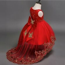 Sequin Embroidery Butterfly Accent Flower Girl Dress Red 110/2-4 y