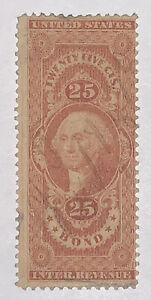 Travelstamps: 1862-1871 US Revenue Scott #R43c First Issue 25c BOND Used, Ng