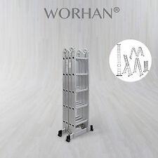 WORHAN® 5.7m Foldable Multipurpose Aluminium Ladder Long Twin Stabilizers KS5.7