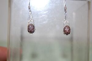 Vintage Ballabrara Arts Silver & Stone Earrings In Original Box. Isle Of Man.