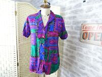 vintage 80s jazzy shirt blouse geometric wild viscose hand made size S T646
